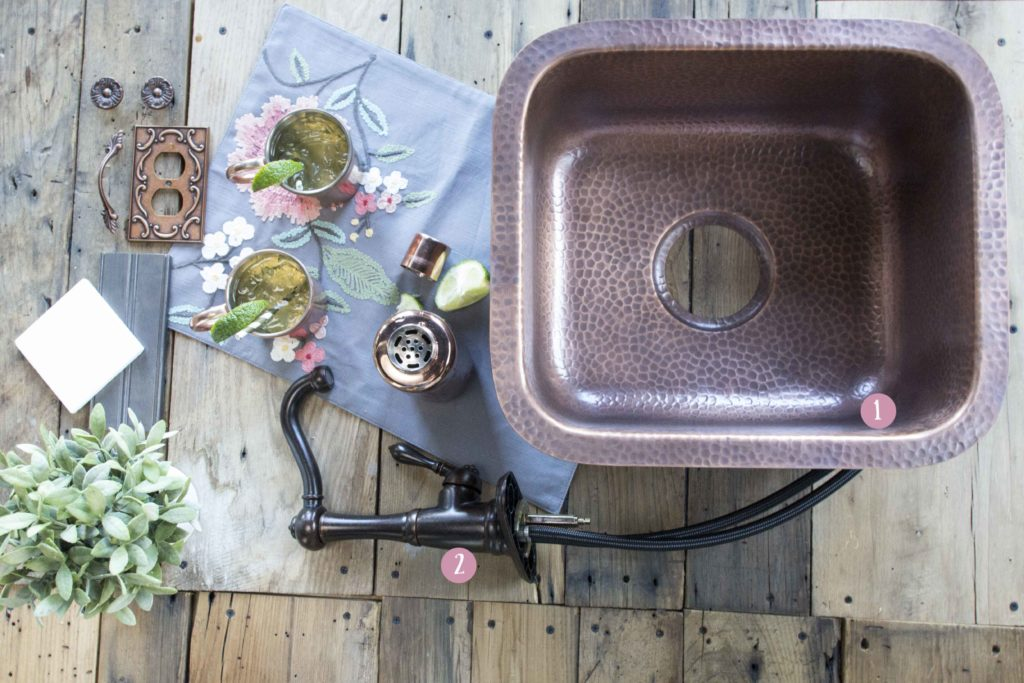 copper sisley bar sink with copper mugs and shaker