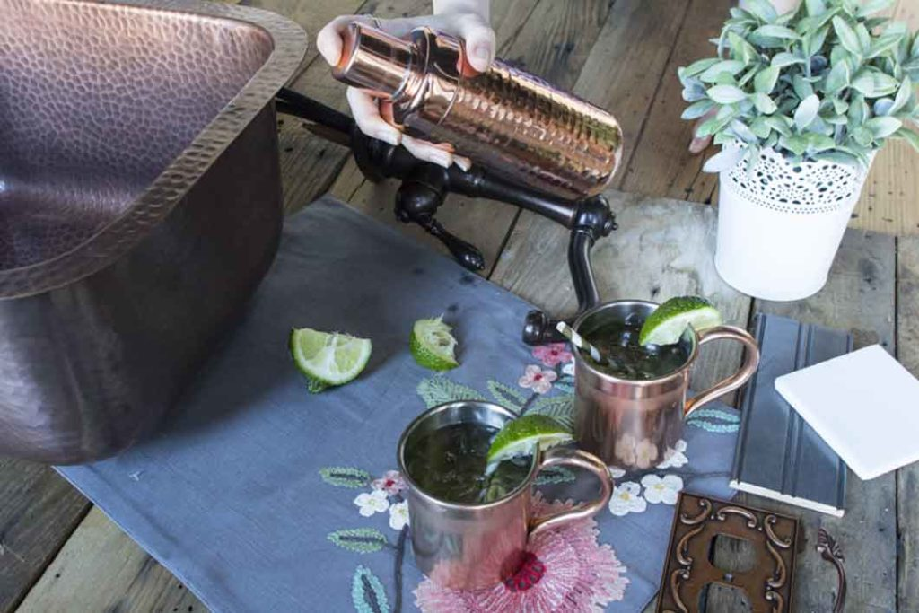copper shaker and copper mugs with the bar copper sisley sink