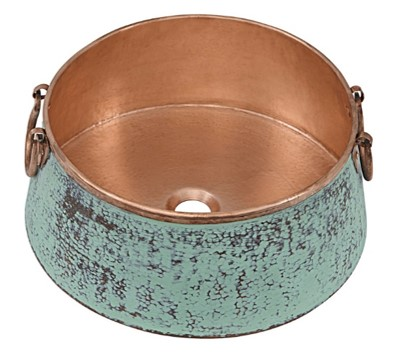 nobel sinkology vessel copper sink with copper interior and green extreior