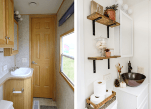 before and after photo of rv sink bathroom