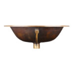 front view of seville drop-in copper bathroom sink