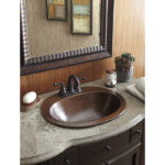 fully installed seville drop-in hand hammered copper bathroom sink