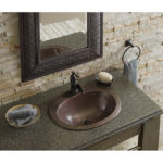 fully installed rutherford drop-in hand hammered copper bathroom sink