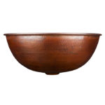 side view of hand hammered hubble copper vessel sink