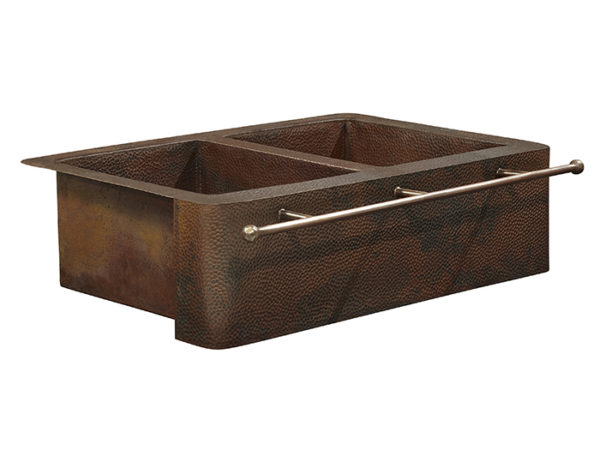 rockwell farmhouse apron front copper kitchen sink with towel bar