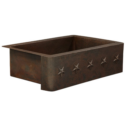 rodin farmhouse apron front copper kitchen sink with star embossment