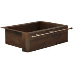 farmhouse apron front copper kitchen sink with towel bar
