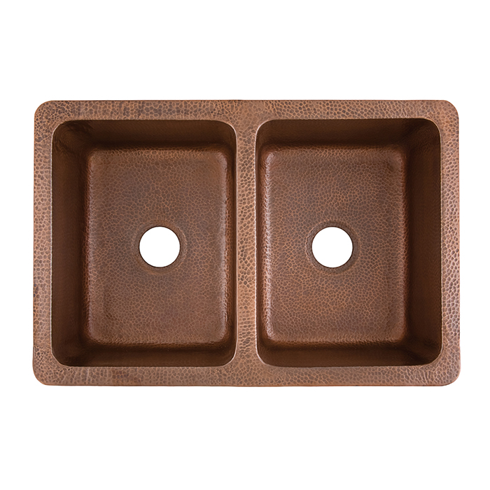 top view of rockwell double basin copper kitchen sink