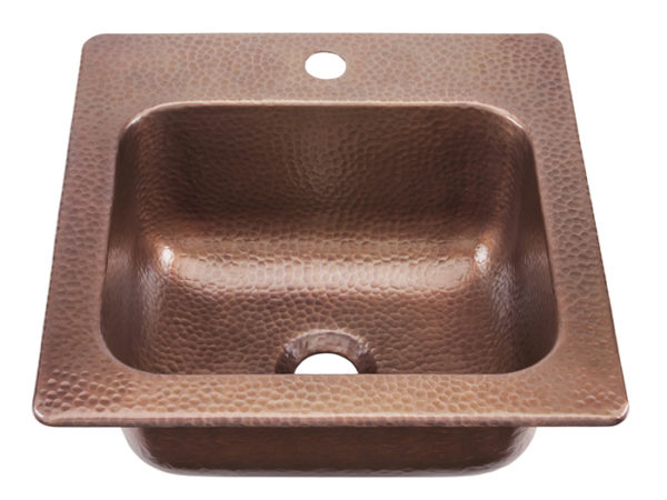 45 degree view of seurat drop-in bar and prep copper sink