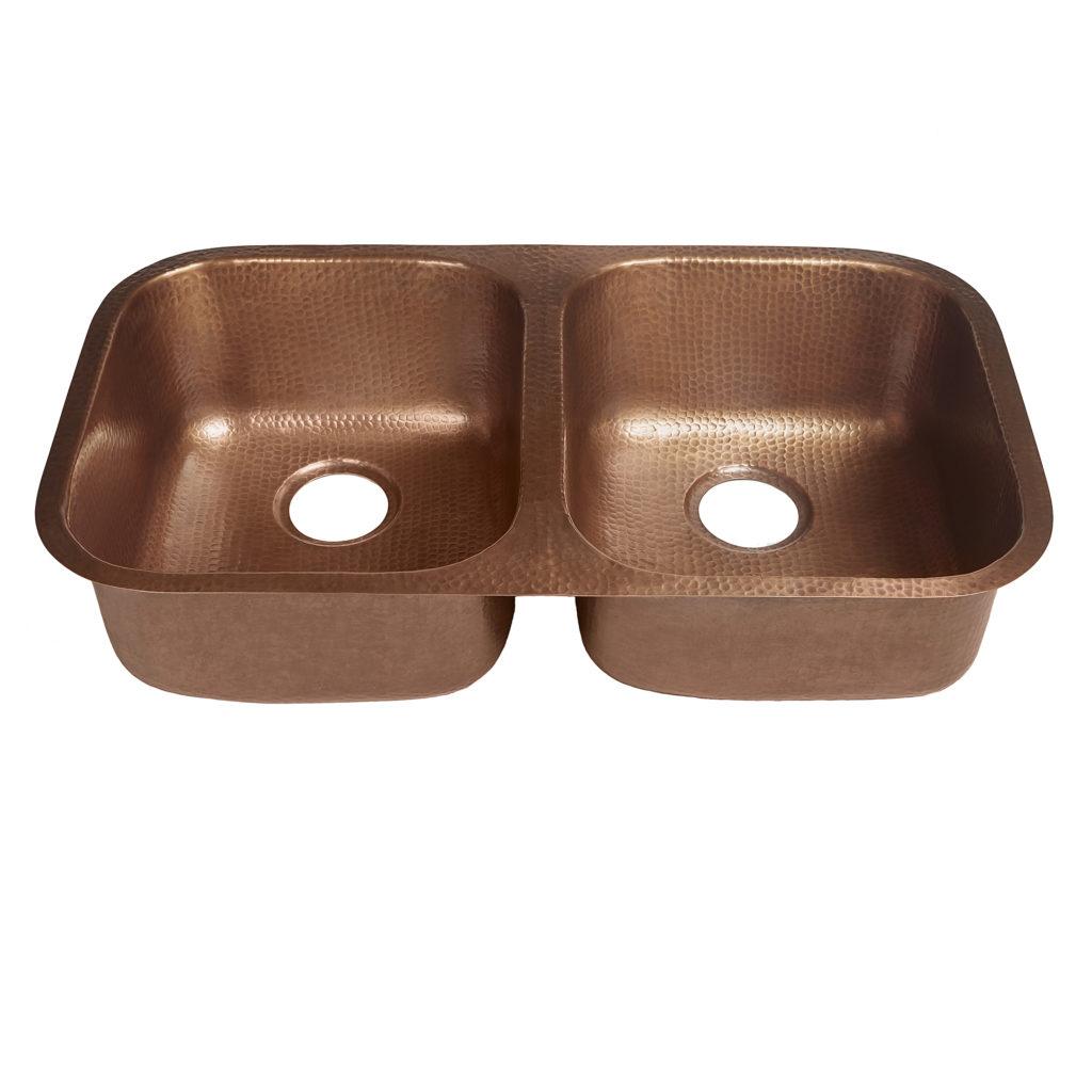45 degree view of kandinsky undermount 16-gauge copper kitchen sink