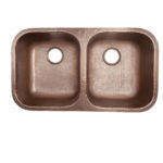top view of kandinsky double basin undermount 16-gauge copper kitchen sink