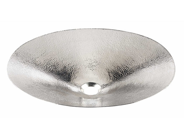 45 degree view of mendel vessel hand hammered nickel bathroom sink