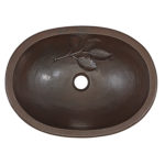 top view of franklin oval basin drop-in copper bathroom sink with leaf embossing