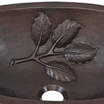 close up of leaf design embossing of franklin undermount copper bathroom sink