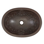 top view of pauling oval basin undermount copper bathroom sink with scroll design embossing