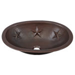 45 degree view of franklin dual-flex rim copper bathroom sink with star embossing