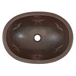 top view of franklin undermount copper bathroom sink with embossed stars