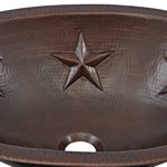 close up of embossed star design on franklin undermount copper bathroom sink