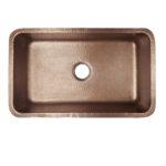 top view of orwell undermount hand hammered copper kitchen sink