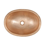 top view of strauss oval bowl drop-in naked copper bathroom sink