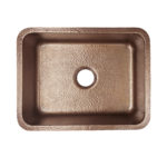 top view of renoir undermount hand hammered copper kitchen sink