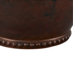 close up of rivets on the bottom of best vessel copper sink