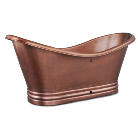 euclid 14-gauge copper bathtub with overflow