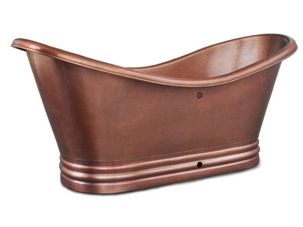 euclid 14-gauge copper bathtub with overflow