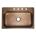 top view of angelico single bowl drop-in hand hammered 16-gauge copper kitchen sink