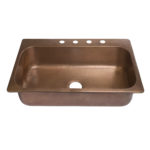 45 degree view of angelico drop-in single bowl 16-gauge copper sink