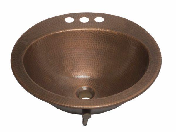 45 degree view of bell drop-in copper bathroom sink