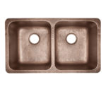 top view of rivera undermount double basin 16-gauge copper kitchen sink