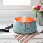 nobel vessel copper bathroom sink with matching faucet and numbered legend