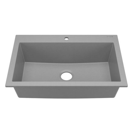 sinkology granite kitchen sink angle photo
