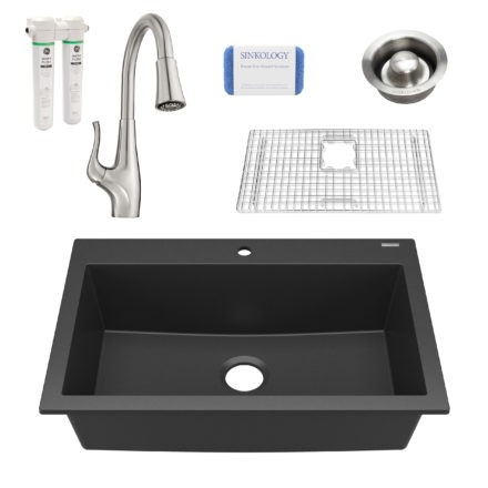 black granite single bowl kitchen sink, faucet, grid, scrubber, and disposal drain