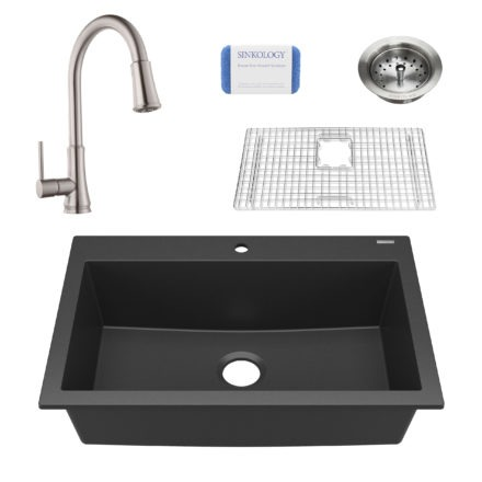 black granite single bowl kitchen sink, faucet, grid, scrubber, and strainer drain