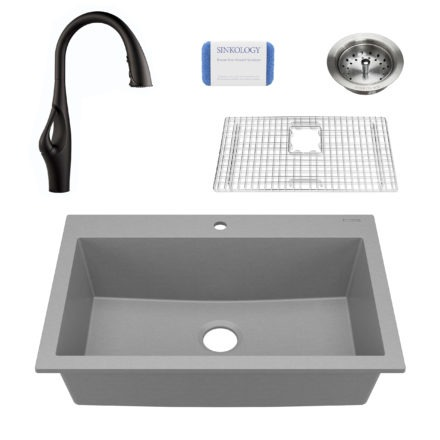 gray granite single bowl kitchen sink, faucet, grid, scrubber, and strainer drain