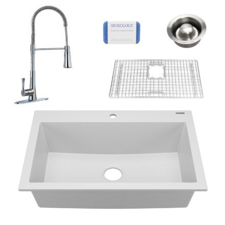 white granite single bowl kitchen sink, faucet, grid, scrubber, and disposal drain