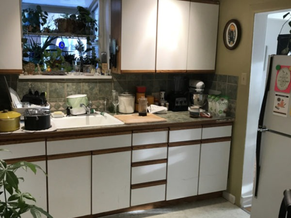 old white cabinets before renovation
