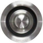 stainless steel disposal drain with logo top view