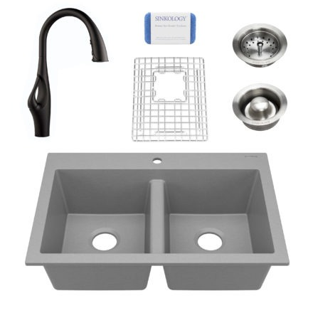gray granite double bowl kitchen sink, faucet, grid, drains, and scrubber