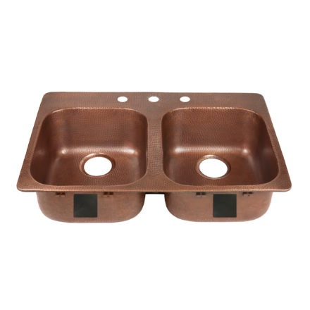 double bowl copper kitchen sink, rear drains, and three faucet holes