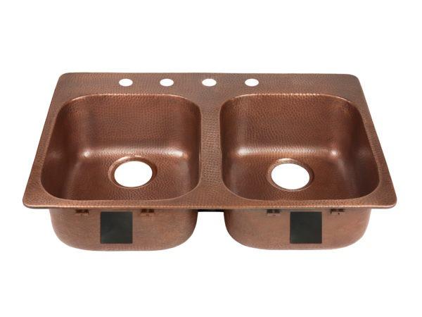 double bowl copper kitchen sink, rear drains, and four faucet holes left side