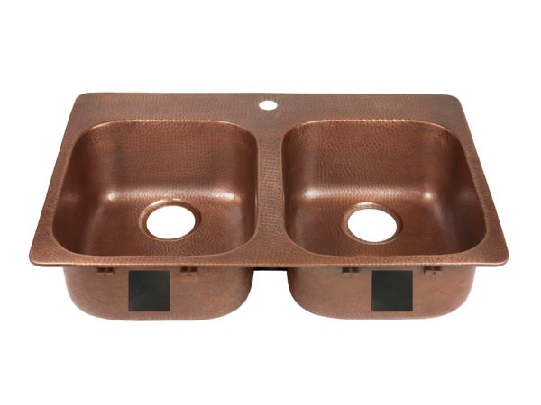 double bowl copper kitchen sink, rear drains, and one faucet hole