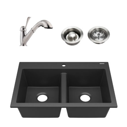 black granite double bowl kitchen sink, faucet, and drains
