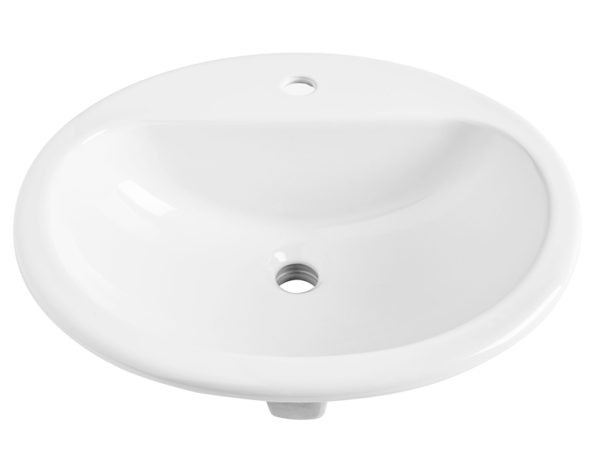 rene oval drop-in vitreous china bathroom sink in white with overflow drain front angle view