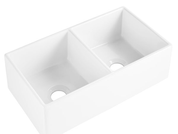 The Brooks II double bowl fireclay farmhouse kitchen sink front angle view