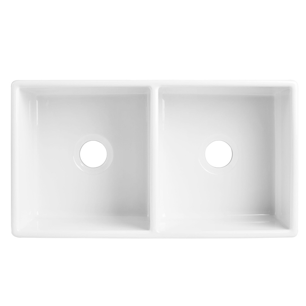 The Brooks II double bowl fireclay farmhouse kitchen sink top view