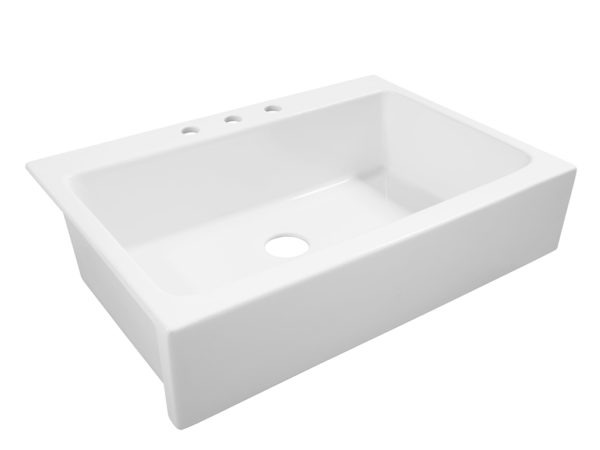 The Josephine quick-fit, drop-in fireclay farmhouse kitchen sink front angle view