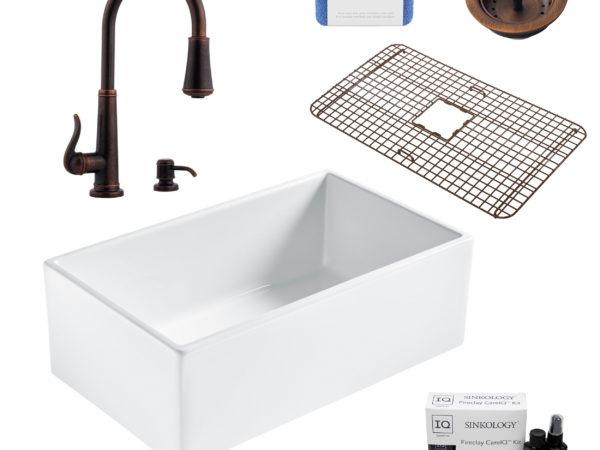bradstreet II white fireclay sink, ashfield faucet, basket strainer drain, bottom grid, scrubber, and fireclay careIQ kit